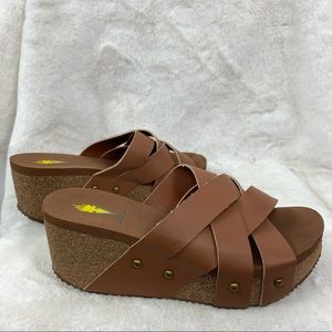 Volatile Brown Tan Wedges Size 8